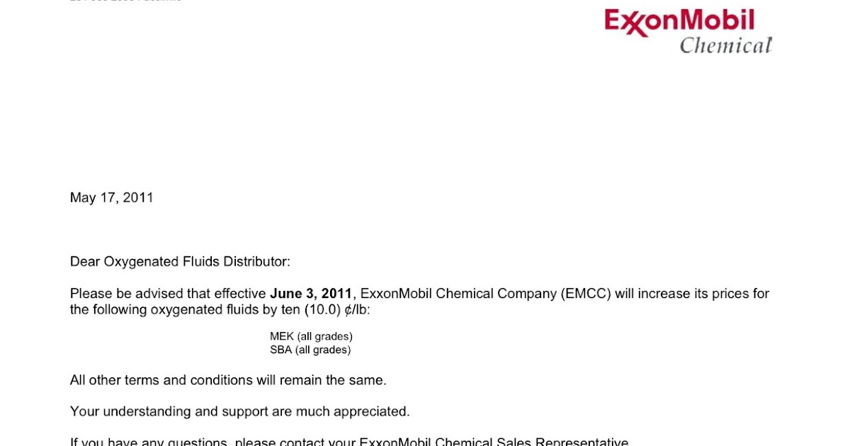 Chemical Market Info from RCU Chemical, LLC : ExxonMobil