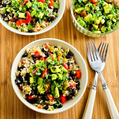 Slow Cooker Vegan Brown Rice Mexican Bowl with Black Beans, Bell Peppers, and Poblano-Avocado Salsa found on KalynsKitchen.com