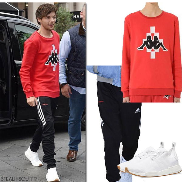 Louis Tomlinson in red sweatshirt marcelo burlon and black track pants gosha rubchinskiy street fashion july 2017