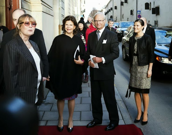 King Carl Gustaf, Queen Silvia and Crown Princess Victoria attended an environmental seminar, Princess Victoria wore Prada dress