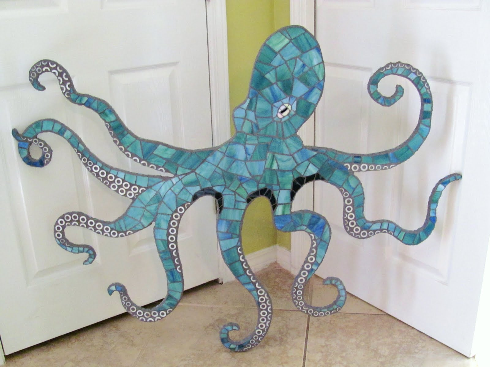Octopus Wall Art - large 4 ft stained glass mosaic octopus ...