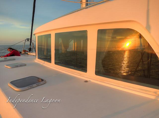 Sunset on a Lagoon 440 sailing catamaran, Cancun, Mexico