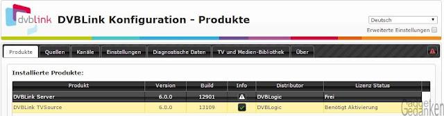 Screenshot: DVBLink TV Source benötigt Aktivierung