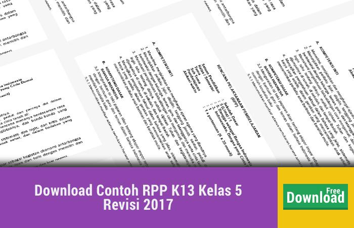 Download Contoh RPP K13 Kelas 5 Revisi 2017