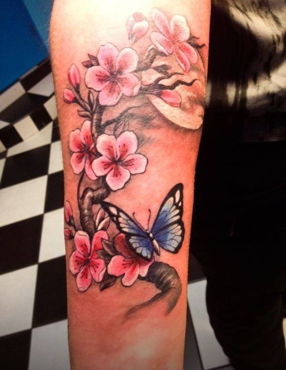 Colorful Cherry Blossom and Butterfly tattoos