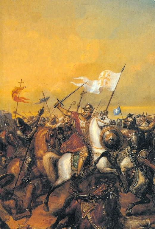 Balduino I, rei de Jerusalém, na batalha de Jaffa. Henri Auguste Calixte César Serrur (1794-1865). Museu de Versailles.