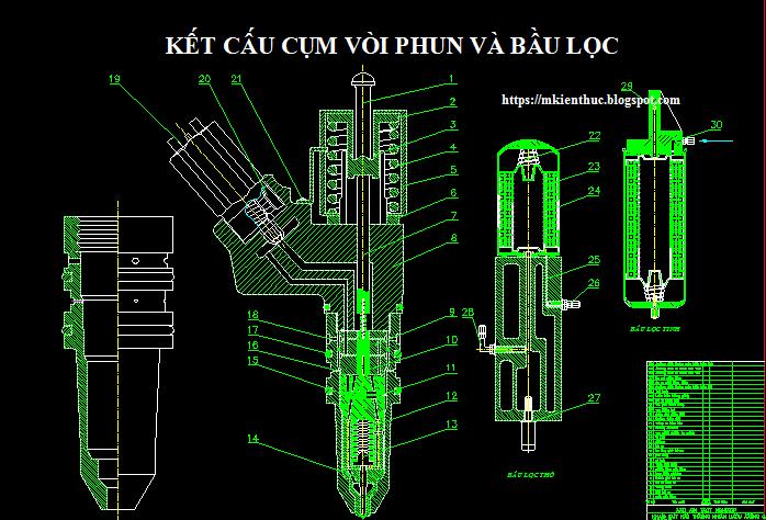 Bản vẽ hệ thống nhiên liệu động cơ Cummins lắp trên xe International