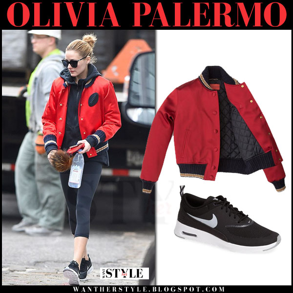Olivia Palermo in red satin tommy hilfiger bomber jacket, black leggings and black nike air max thea sneakers what she wore