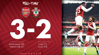 Arsenal vs Southampton 3-2 Video Gol & Higlights Liga Inggris