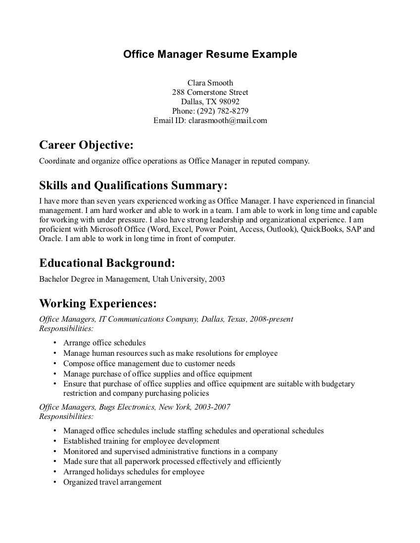 resume sample office manager - Free Resume Sample Office Manager