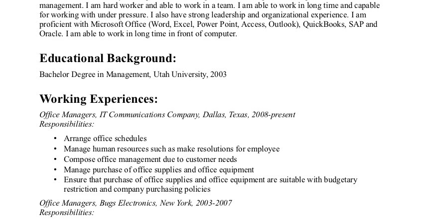 Sample Resumes  Dental Office Manager Job Description