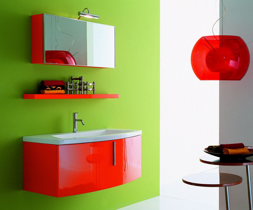 Bright Red Green White Kids Bathroom Paint Colours Feats Gl Pendant Light Shade Plus Floating Shelf