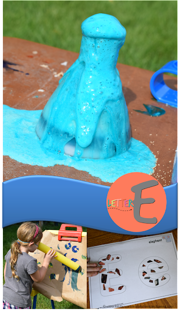 Letter E - this is such a fun letter of the week lesson plan that includes ideas for 5 days including elephant toothpaste science experiment, paint like an elephant, cut and paste activity and so many other clever ideas and printables for preschool, prek, and kindergarten.