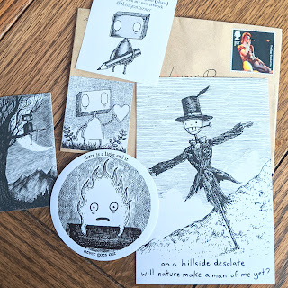 Calcifer vinyl sticker, note card, business card and envelope with black and white hand drawn art work of robots and Turniphead from Howl's Moving Castle by Jon Turner