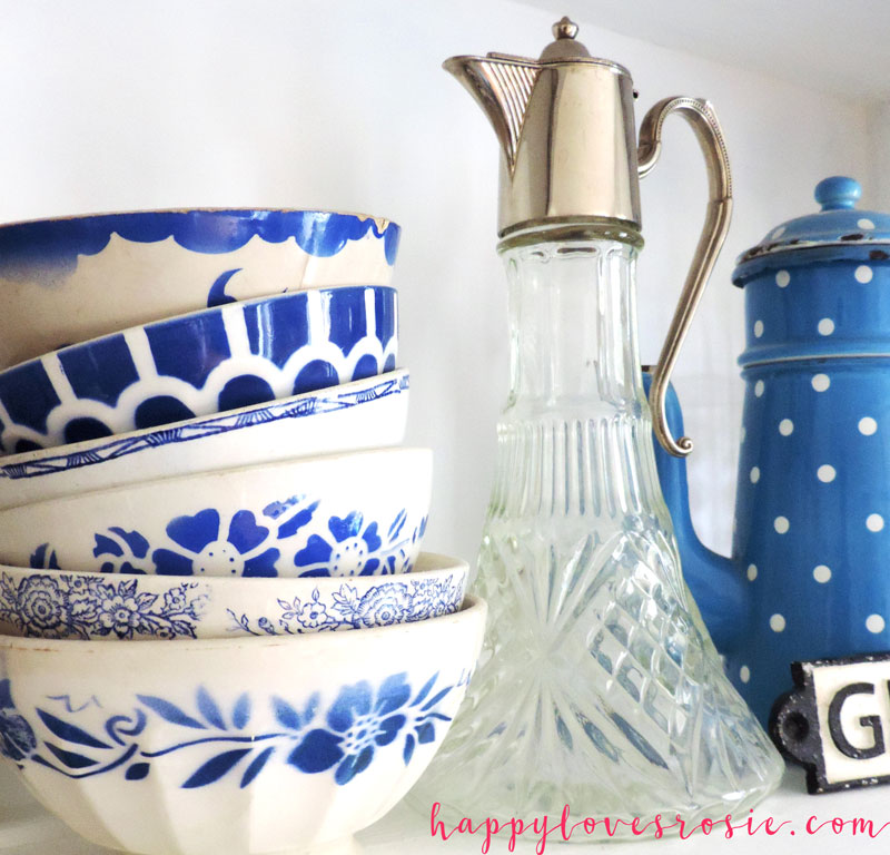 french blue bowls and glass decanter
