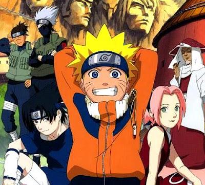 Dibujo de Naruto sonriendo con algunos personajes
