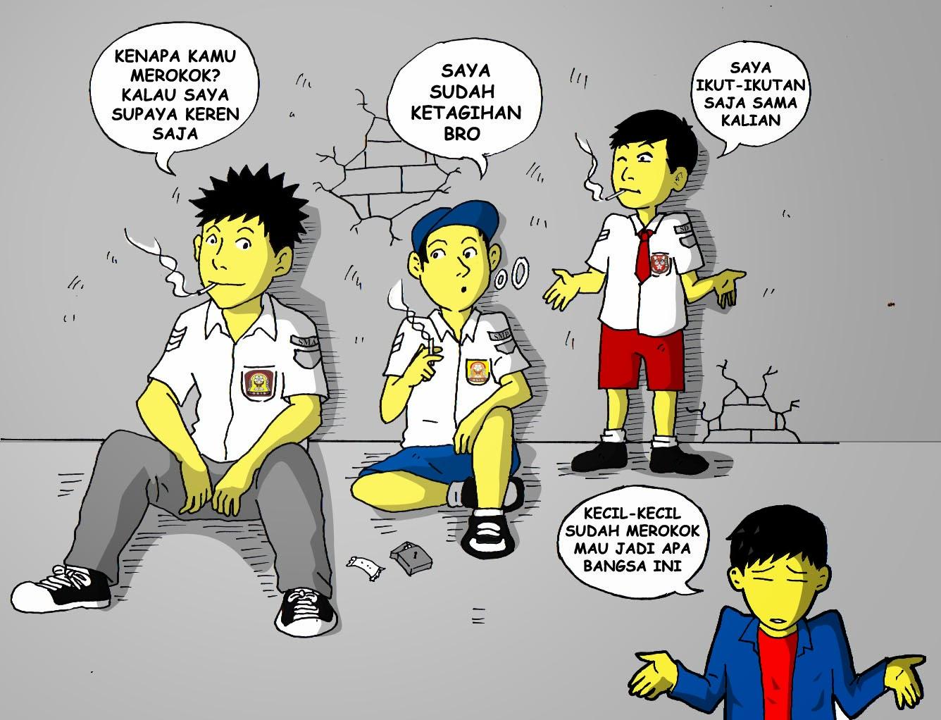 Foto Kartun Sedang Merokok Keren