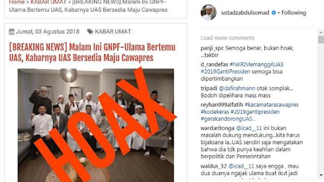 Dikabarkan Siap Jadi Cawapres Prabowo, Ustaz Abdul Somad Tulis 'Hoax'