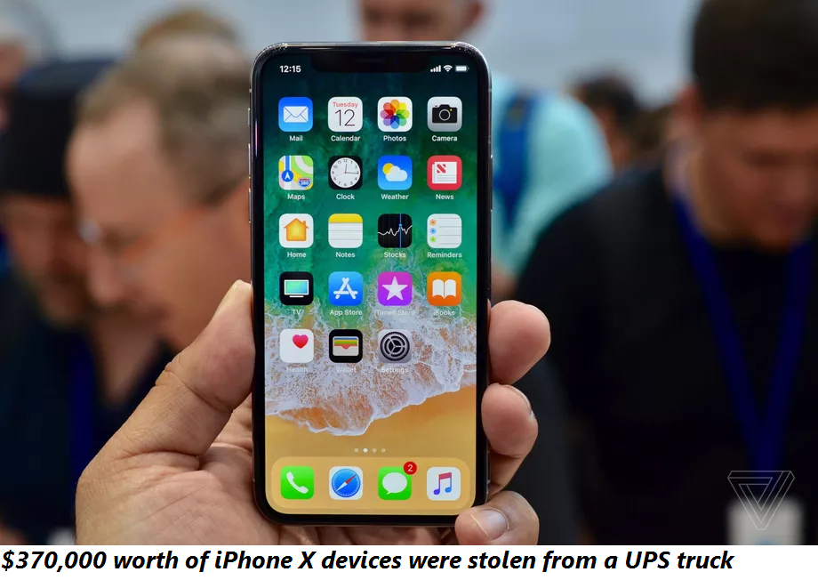 $370,000 worth of iPhone X devices were stolen from a UPS truck