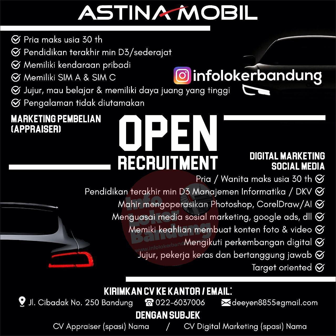 Lowongan Kerja Astina Mobil Bandung Februari 2019
