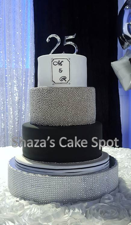 Wondrous Shazas Cake Spot Black Silver And White 25Th Anniversary Cake Personalised Birthday Cards Epsylily Jamesorg