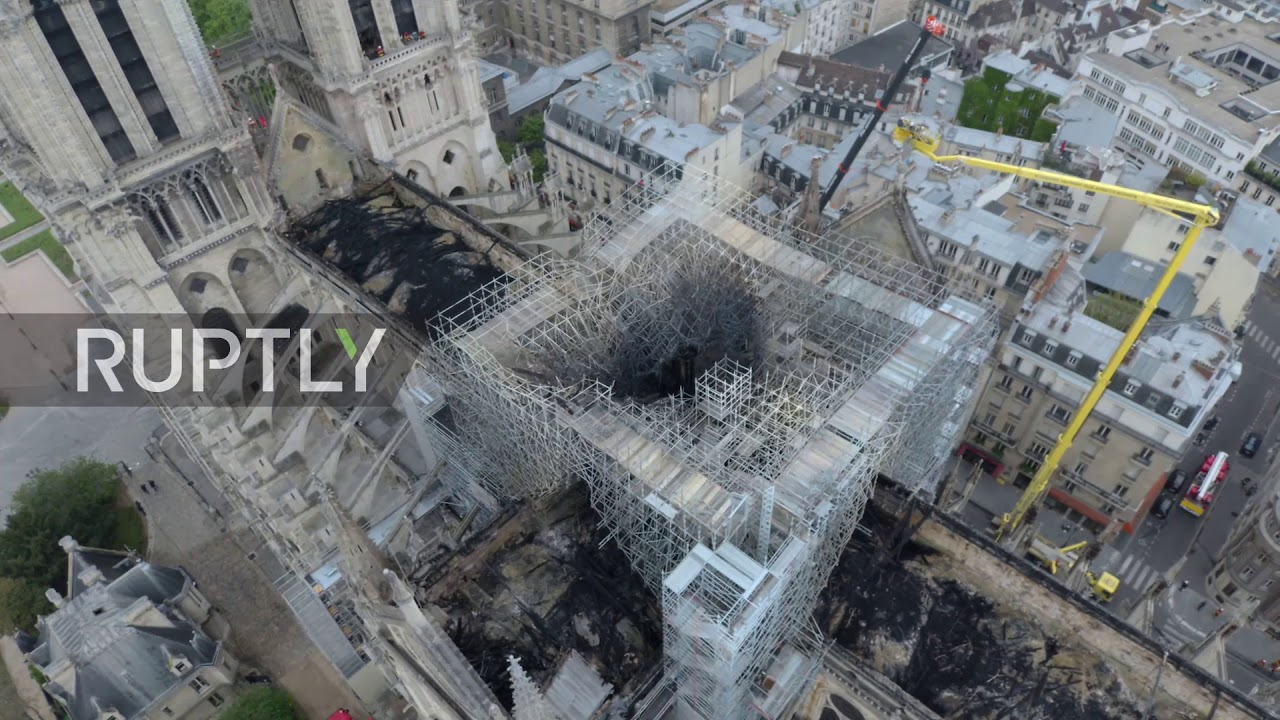 Notre Dame fire: Drone footage shows damage to cathedral