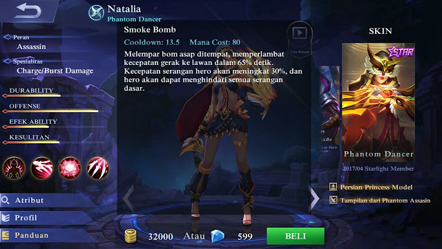 Natalia, Jenis Hero Dalam Game Mobile Legends