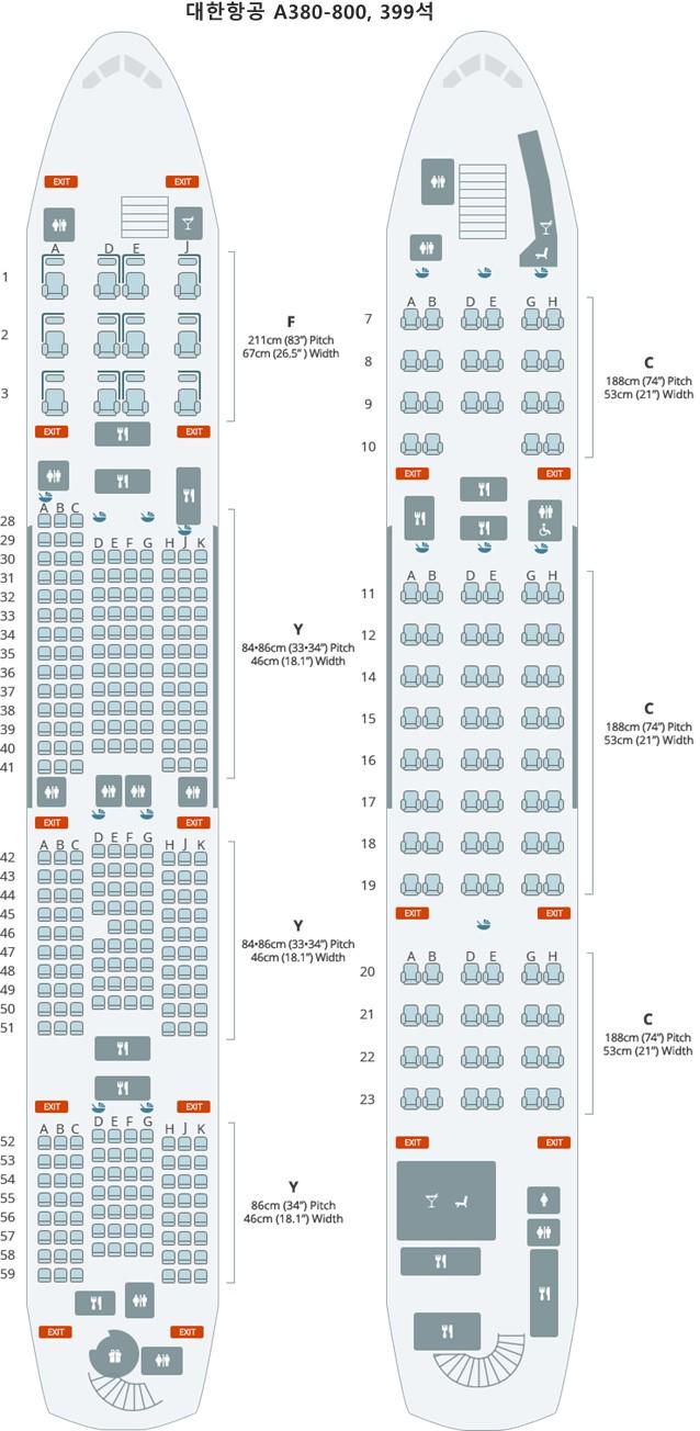 대한항공 A380-800, 399석