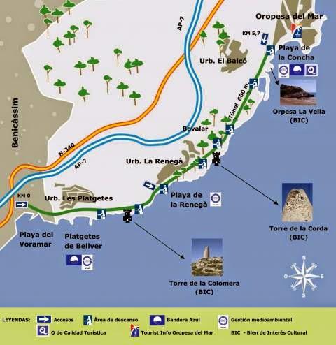 Mapa de la Vía Verde entre Benicàssim y Oropesa.