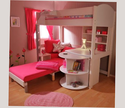 Cool Bunk Beds For Girls With Red Bed Cover and Good Design Unique Photo Picture
