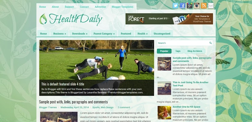 HealthDaily Free Blogger Template