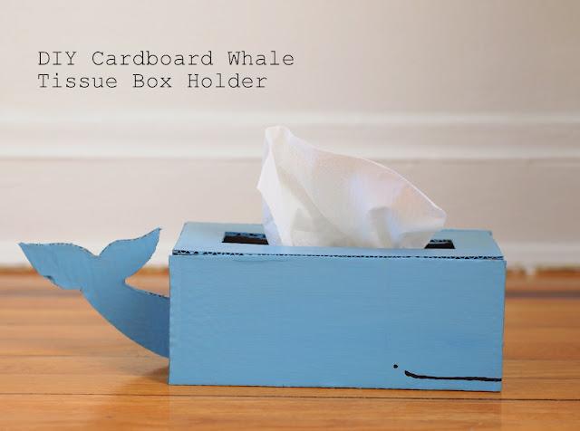 Cardboard Whale Tissue Box Holder - Pink Stripey Socks