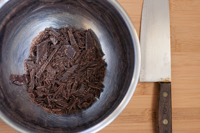 Chopped chcolate in a heat-proof bowl