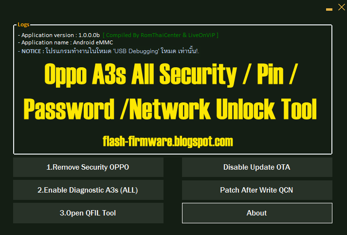Oppo A3s All Security / Pin / Password /Network Unlock Tool
