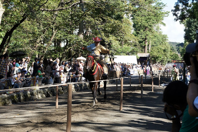 Yabusame (horseback archery demonstration) at Tsurugaoka Hachimangu Shrine, Kamakura, Kanagawa