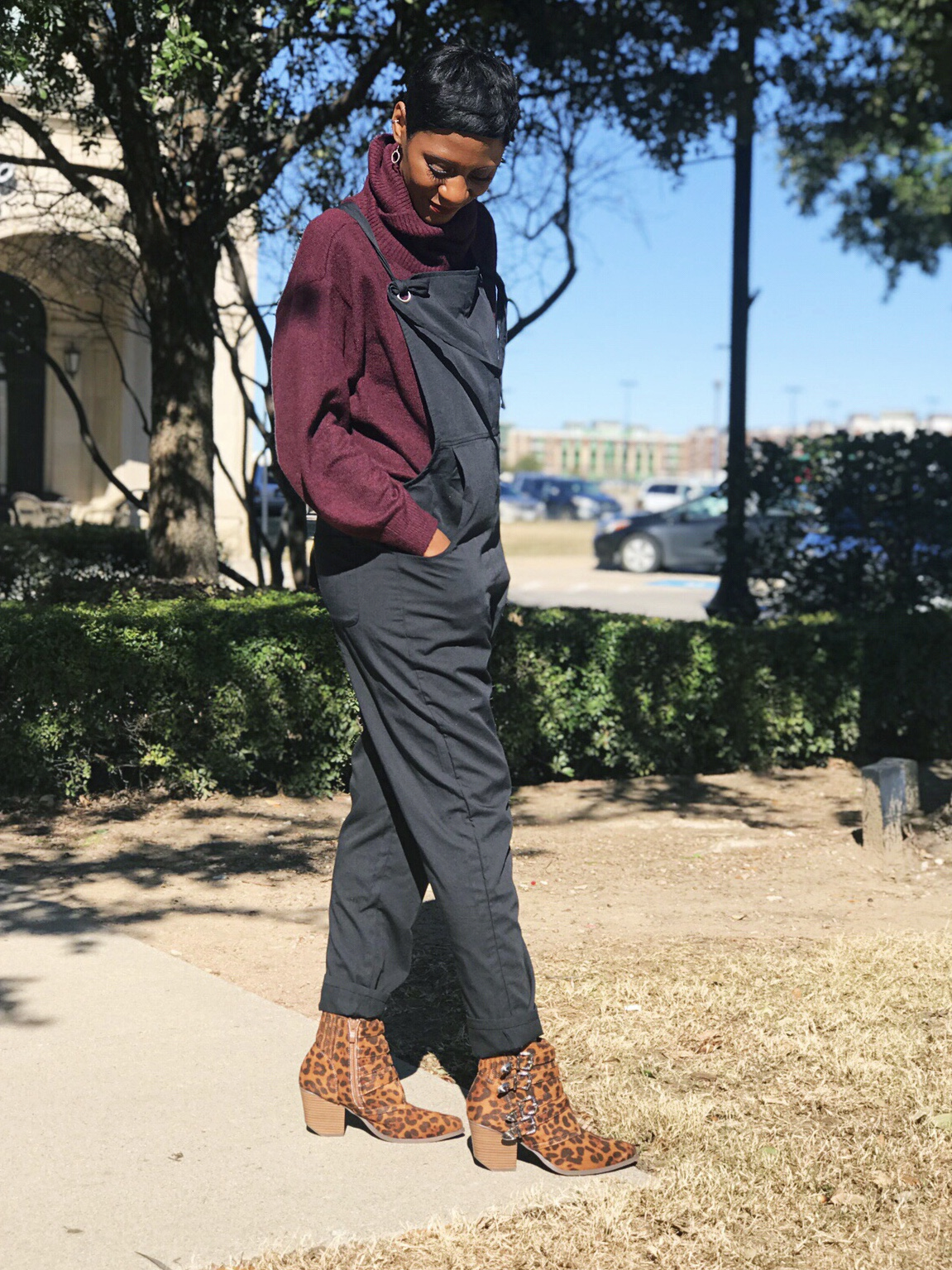 Leopard Shoes, Comfy Jumpsuits And A $12 Maroon Turtle Neck Sweater