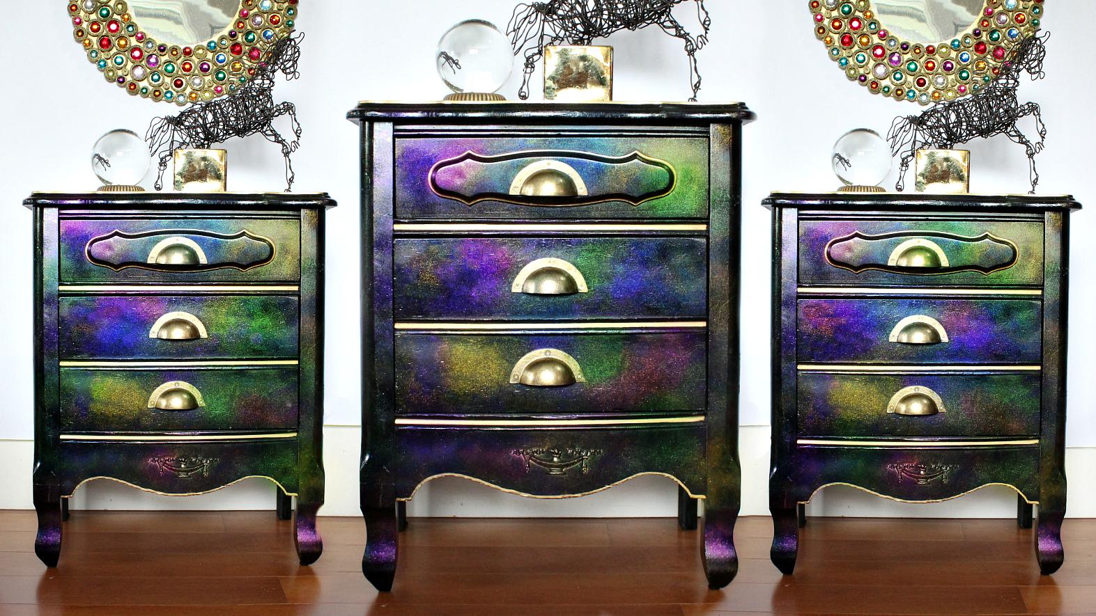 mark montano iridescent dresser makeover  unicorn spit sparkling