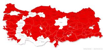 Bazı illerin beyaza boyanmasıyla oluşan ay yıldız bayraklı kırmızı Türkiye Haritası