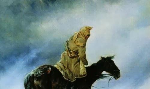 """Всадник в башлыке (фрагмент картины H.Сверчкова """"Охотник, застигнутый зимней вьюгой"""", 1872)"""