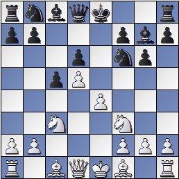 Posición después de 24.Df3 de la partida de ajedrez Pomar vs. Eliskases, I Torneo Internacional de Ajedrez Costa del Sol 1961