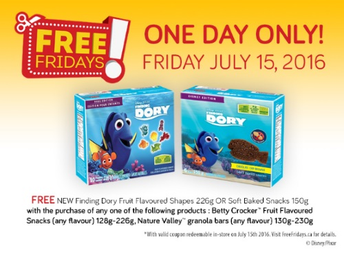 *Reminder* Free Finding Dory Snacks Free Friday Coupons