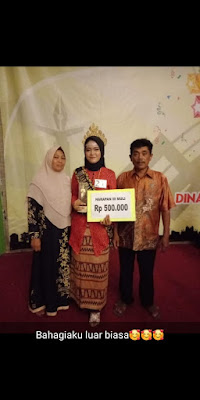 Reni Anggraeni, a Second Semester Student of PBI UM Metro Won Muli Mekhanai 2019 as the Third Place Runner Up