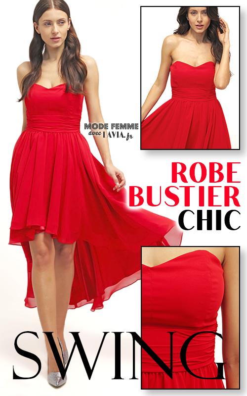 Robe de soirée bustier rouge en voile asymétrique SWING