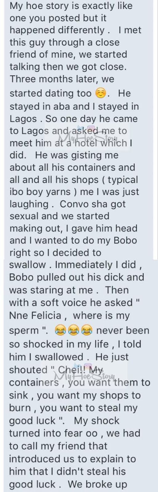 Nne, where is my fluid? Puzzled man asks female lover after BJ session