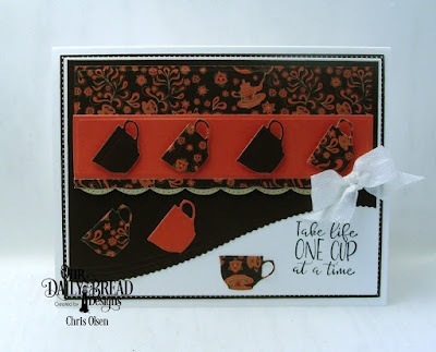Our Daily Bread Designs, Hug in a Mug stamp and die duo, Mini Cups and Mugs dies, Latte Love 6x6 Paper Pack, Leafy Edged Border die, Beautiful Borders dies, Pierced Rectangles and Rectangles dies, designed by Chris Olsen