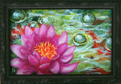 water lily painting goldfish