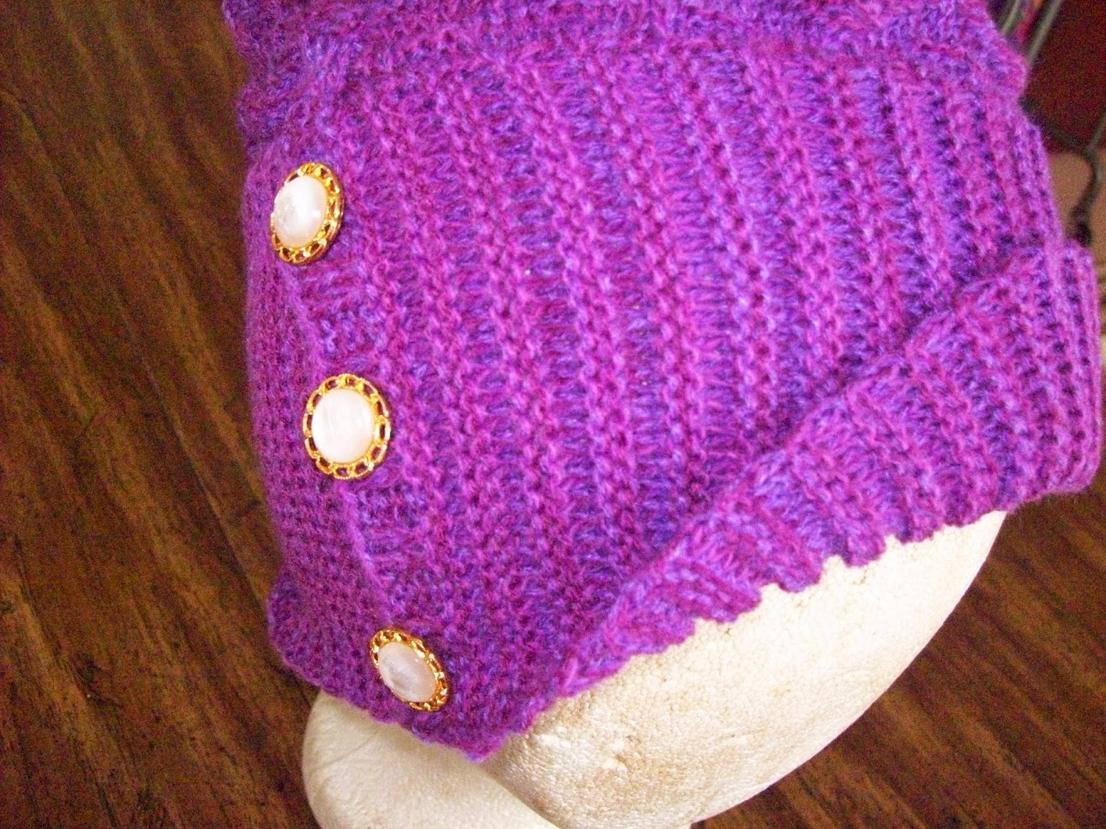 Knitted with 3 strands 1 12 accrylic yarn in 3 different colors mixed  together. I am also knitting one in 2 17 acrylic knit 2 strands. Pattern  available at ... b9f9ace5f71