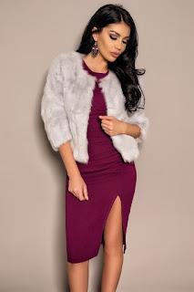 Jacheta gri scurta din blana naturala de iepure