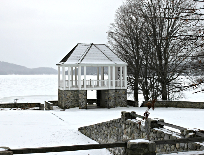 Schroon Lake, NY beach in winter - www.goldenboysandme.com