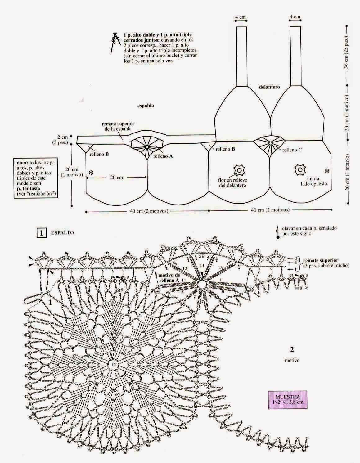 Top Tejido A Crochet Con Patrones Graficos Todo Patrones